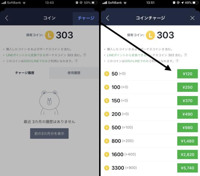 LINEコインのチャージ方法