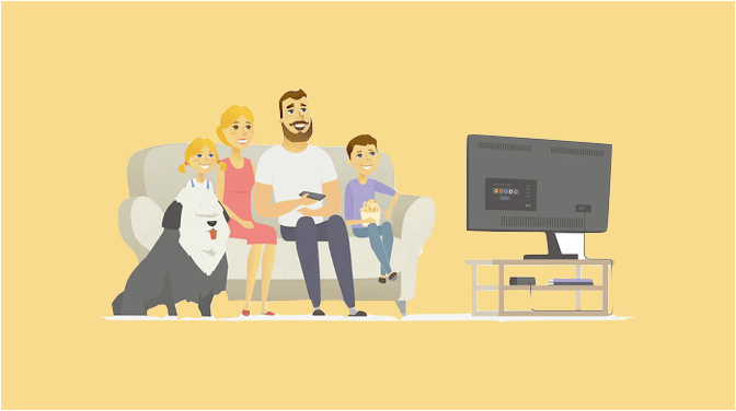 テレビを見ている-家族